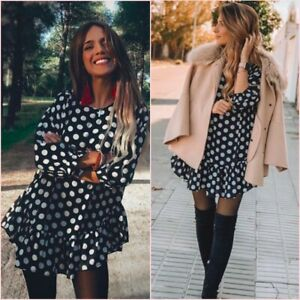 SALE Black White Polka Dot Ruffled Mini Dress Blouse Top S UK 8 US 4 ❤
