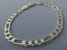 """-Pave+ Polished- 5mm-Italy 925 8""""-Sterling Silver- Figaro Bracelet-Faceted"""