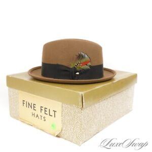 #1 MENSWEAR LNIB Melton Made in USA Vintage Khaki Taupe Felt Banded Fedora Hat 7