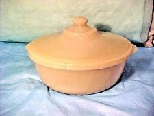 "Vintage Fire King Ivory Covered Casserole Oven Glass Mid Century 3"" T x 8 3/4"" R"