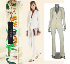 $2390 GUCCI SUIT JACKET & PANTS WHITE STRETCH WOOL FLORA PRINT LINING IT 42 US 6