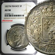 FRANCE Charles X Silver 1827 W 5 Francs NGC AU58 LILLE MINT NICE TONED KM#728.13
