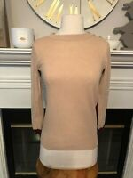 J CREW Tan Burgundy Color Block Elbow Patch 3/4 Sleeve Popover Ribbed Sweater XS