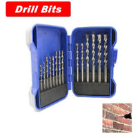 15pcs 3/4/5/6/8/10mm Tungsten Steel Masonry Power Shank Drill Bit Set Brick Wall