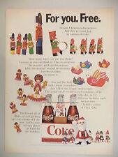 Coca-Cola PRINT AD - 1968 ~~ Coke ~~ Pop-Art Christmas decorations offer
