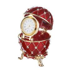 Decorative Faberge Egg / Trinket Jewel Box Grid with clock 2.4'' (6 cm) red