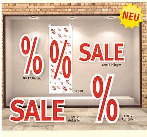 Ankleber SALE und % Zeichen Hänger Schild Plakate Aufsteller Werbung deko