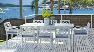 Marie - 9 Piece Outdoor Setting - Solid Eucalyptus Timber - With 2100mm Table