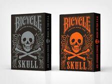 Set of 2 Bicycle Skull Orange & Mettalic Silver Playing Card Decks New