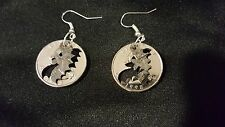 ONE OF A KIND HAND CUT QUARTERS BLACK BAT EARRINGS BLACK RHODIUM PLATED