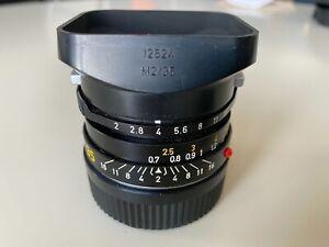 "Leitz Leica Summicron M 35mm f/2 lens w/hood ""Bokeh King"" Exc+"