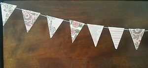 Mini 25 Bunting Flags on String Craft Embellishments Pastle Pink Card making