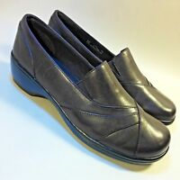 NEW Women's Clarks Bendables Slip-on Comfort Shoes Med Heels Brown Leather-8.5 M