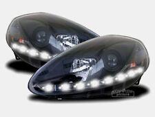 Black LED Daylight Headlights FOR Fiat Grande Punto type 199 Facelift from 2008
