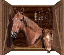 """HORSE WALL MURAL, HORSE & COLT, WESTERN, COWBOY, RANCH STABLE 44"""" x 38"""""""