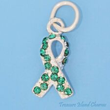 Organ Donor Awareness Ribbon .925 Sterling Silver Charm Green Swarovski Crystal