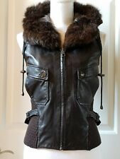 June Leather Vest with fur-Trim Hood Brown Sz. Small