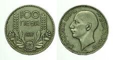 pcc1517_2)  Bulgaria 100 LEVA 1937 ARGENTO Boris III - Silver TONED