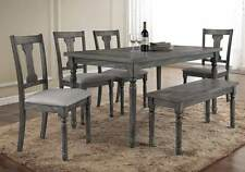 Wallace 6 pcs Rectangular Dining Table Set Padded Chair Weathered Blue Washed