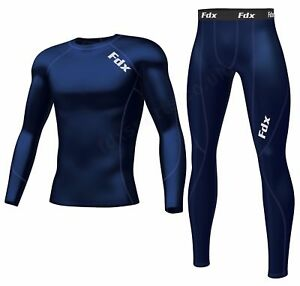 FDX Men's Compression Armour Base layer Top Skin Fit Shirt + Pants / Tights set