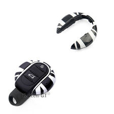 Black Union Jack UK Remote Smart Key Fob Cover For 3rd Gen MINI Cooper F55 F56