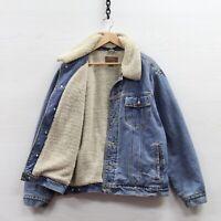 Vintage Lee Denim Jean Trucker Jacket Size XL Sherpa Lined Light Wash Button Up