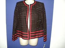 NEW Tara Ryan Small 8 Jacket Woven Acrylic Brown, Red, Cream, Black Metallic NWT