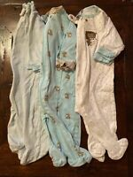 Bundle Lot Of 3 Gerber Infant Baby Boy Zip Up Size 0-3 Month Footed Sleepers