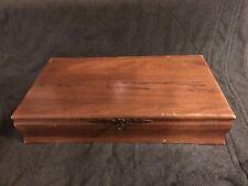 Vintage Wood Felt Silverware Storage Box Case Chest