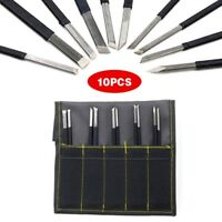 10Pcs High-carbon Steel Stone Carving Sculpting Kit Hand Chisel Tool With Bag