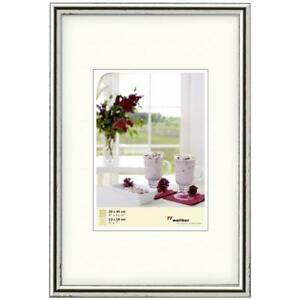 """Walther Meran 20x30cm Frame with 5x7"""" Mat Silver Wood HR030S"""