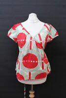 ORLA KIELY Ladies Red & Grey Patterned Cap Sleeve V Neck Wrap Blouse Size 2 S