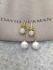 David Yurman Diamond and 10mm Pearl Chain Pendant earrings
