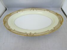 """Cheramy by NORITAKE 11"""" Oval Serving Platter Gold Encrusted/Raised Gold 1930+"""