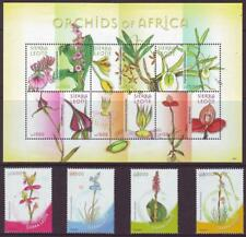 SIERRA LEONE 2009  ORCHIDS OF AFRICA SET 4 + SHEETLET 6  MINT NEVERHINGED