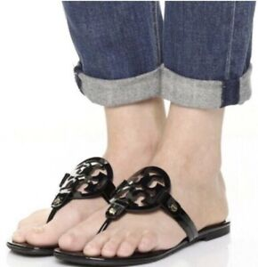 Tory Burch Miller Sandals Black Patent Leather Shoes Size 8m new Boxed