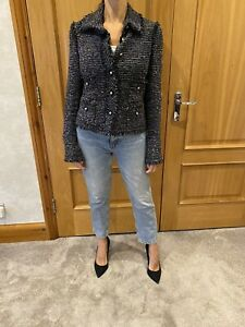 Chanel Navy Tweed Fantasy Fringed Jacket Star Buttons/wool Blend/38/UK 10