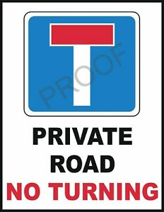 """PRIVATE ROAD NO TURNING #0937 WARNING SAFETY SIGN METAL VEHICLE 10 X 7.7"""""""