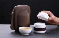 White Porcelain Gongfu Teapot & Two Teacups Travel Kung Fu Tea Set in Zipper Bag