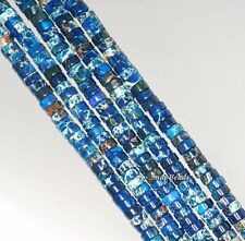 4X2MM IMPERIAL JASPER GEMSTONE BLUE HEISHI SLICE RONDELLE 4X2MM LOOSE BEADS 16""