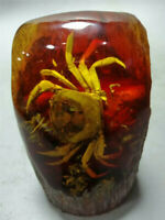 Collection Chinese Exquisite Handmade amber Crab statue