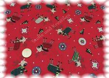 Funny Deer de Noël tissu rouge coton 50 CM de Noël substances Noël