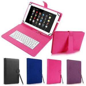 "for Android 7"" - 8"" inch Tablet Universal Leather Case Cover with Keyboard USB"