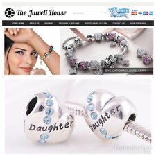 Daughter Heart Charm Bead European 925 Sterling Silver blue birthday stones