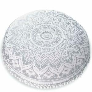 Large Ombre Mandala Floor Cushions, Decorative Throw Pillowcases Round Pouf Seat