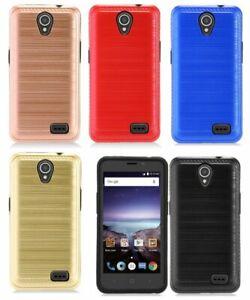 ZTE Zfive 2 (Z837VL) / Prestige 2 (N9136) -Hybrid Brushed Armor Phone Case Cover