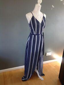 Navy & White Strappy Maxi Dress size 8 (8-10)