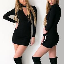 Sexy Women Long Sleeve Knit BodyCon Slim Party Sweater Hoodie Mini Pencil Dress