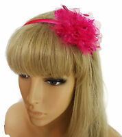 Gorgeous Raspberry Pink Sparkly Net Flower Satin Alice Band Headband Hair Band