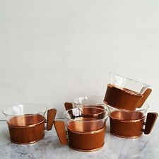 Schott & Gen Jena Glass Tea Cups Teak Brass Copper Holders Bauhaus Wagenfeld MCM